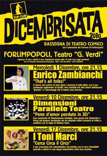 DICEMBRISATA 2010 – la Rassegna di Cabaret curata da Enrico Zambianchi